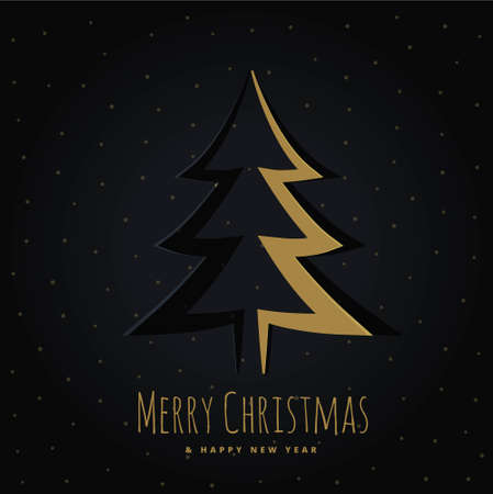 golden christmas tree design in origami style