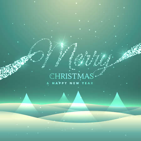 magical merry christmas greeting card design with snowly backgroud