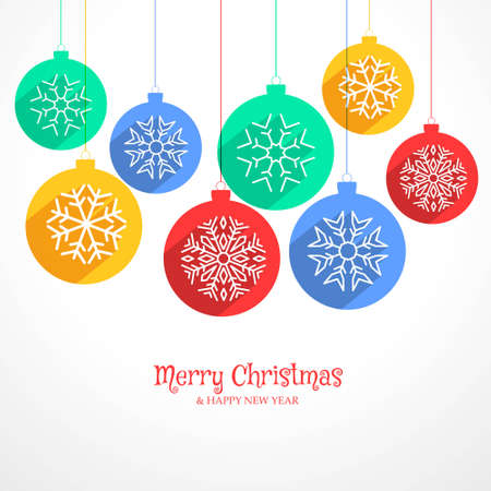 colorful hanging christmas balls background with snowflakes