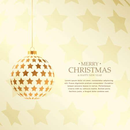 beautiful golden christmas balls design holiday greeting Illustration