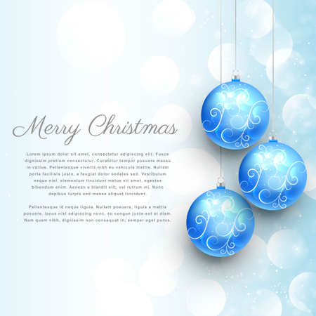 hanging blue christmas balls with floral decoration and bokeh effect. merry christmas background