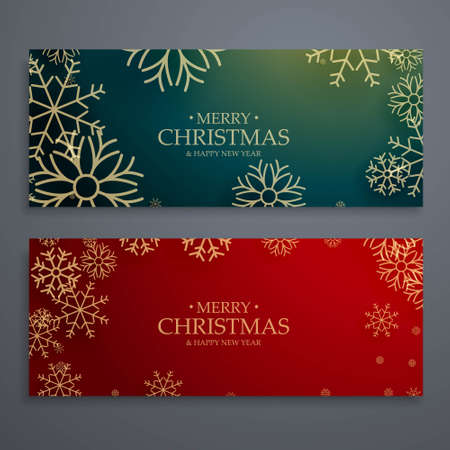 set of two merry christmas banners template in red and green colors Vetores