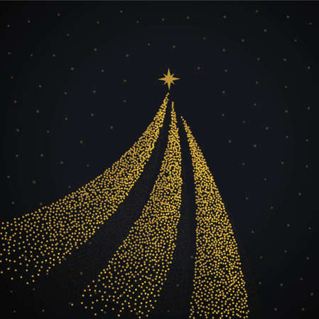 creative golden christmas tree design made with dots