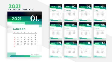 stylish green modern new year 2021 calendar design template