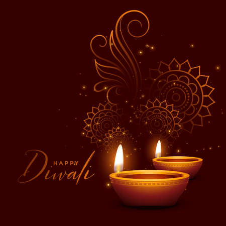 happy diwali sparkles greeting wishes background design
