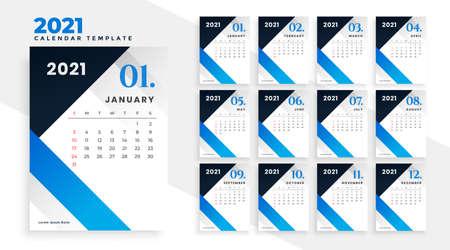 modern blue geometric new year 2021 calendar design