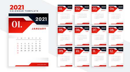 stylish red black 2021 calendar design template