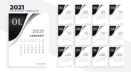 new year 2021 stylish calendar design template