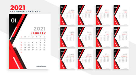 modern red and black new year 2021 calendar design template