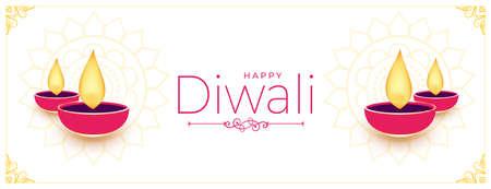 happy diwali white banner with flat diya design Vector Illustratie