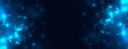 abstract blue bokeh light sparkles banner design