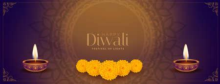 ethnic style happy diwali decorative banner design Vector Illustratie