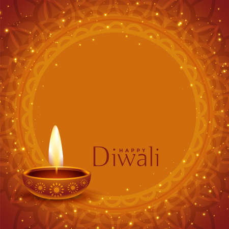 happy diwali sparkling banner with text space