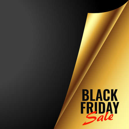 black friday golden sale background in paper curl style Stock Illustratie
