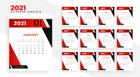 2021 new year calendar template design in geometric style