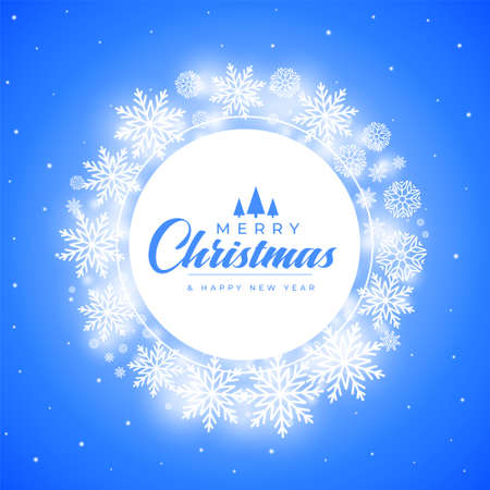merry christmas snowflakes decorative frame background design