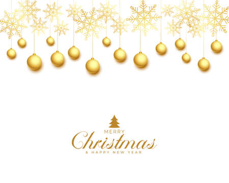 christmas greeting card with golden balls and snowflakes