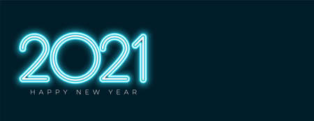 neon style 2021 happy new year banner with text space