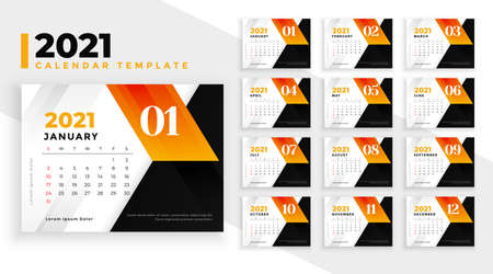 abstract new year 2021 calendar design modern template