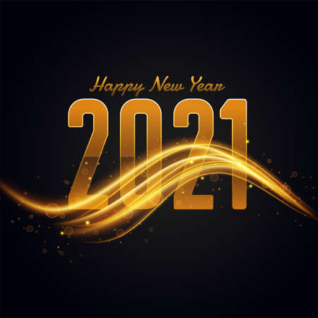 2021 happy new year background with golden light streak