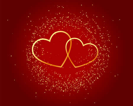 valentines day sparkling love golden hearts on red background 向量圖像