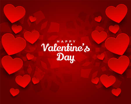 lovely happy valentines day red hearts background 向量圖像