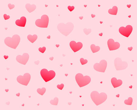 lovely hearts pattern background in different sizes