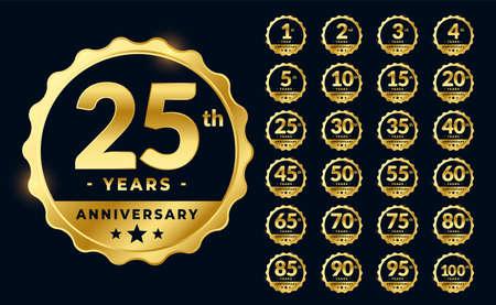 set of golden anniversary emblems labels design