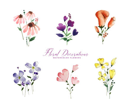 set of isolated cute watercolor flowers elements