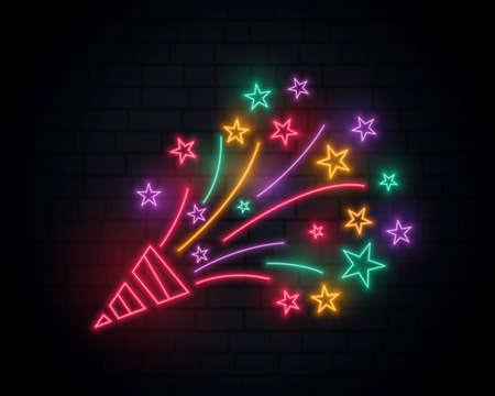 bursting neon confetti from cap celebration birthday design