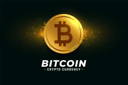 golden bitcoin cryptocurrency coin background Vector Illustration