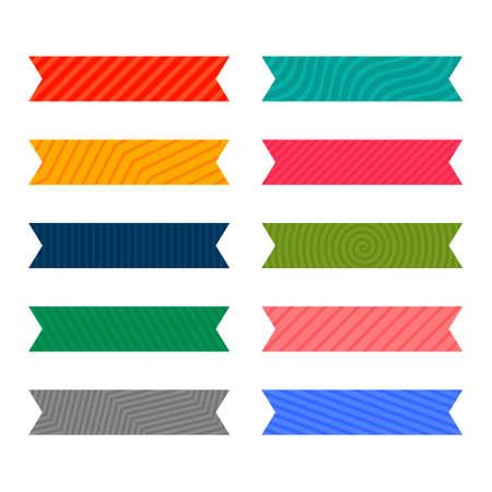 colorful adhesive pattern ribbon or tape set Vettoriali