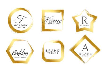 abstract golden frame logos or monograms set