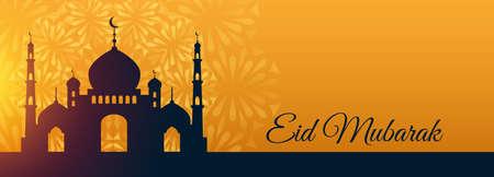 eid mubarak festival mosque beautiful wishes banner