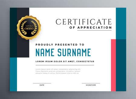 modern success certificate template design Vettoriali