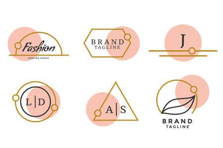 fashion brand logos or monograms set of six Vettoriali