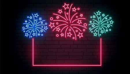 celebration firework neon frame background Vettoriali