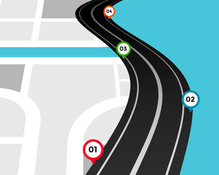 pathway infographic template with location marks Vettoriali