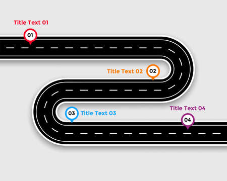 pathway infographic template with winding road Vettoriali