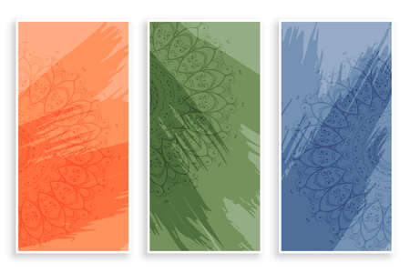 abstract mandala style banners design