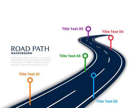 winding road infographic template with milestone points Vettoriali