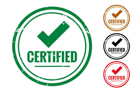 certified check quality label or rubber stamp set Vettoriali