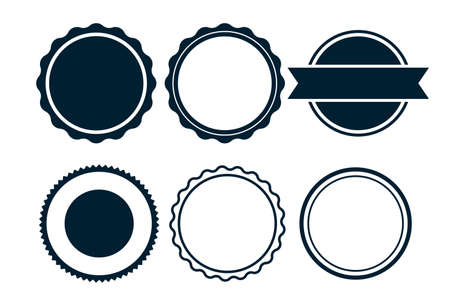 empty blank labels or circular stamps set of six