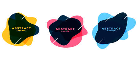 fluid shape abstract frame banners set Vettoriali