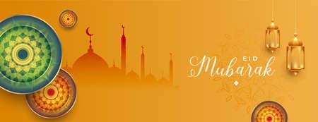 eid mubarak islamic banner with lantern and mosque
