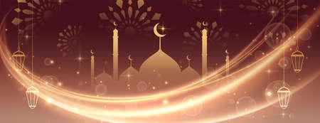 eid mubarak beautiful lights banner design Vettoriali