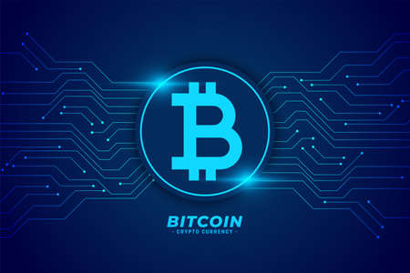 bitcoin technology background with circuit lines Vettoriali