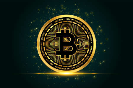 cryptocurrency bitcoin golden coin background Vettoriali