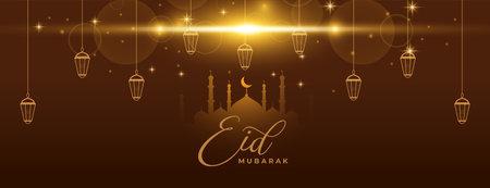 eid mubarak sparkling banner with lanterns Vettoriali