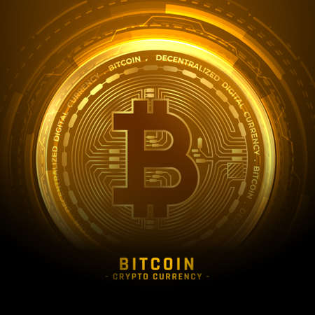 golden bitcoin cryptocurrency coin background